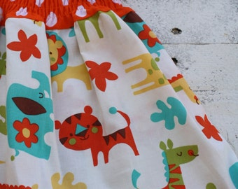 Wild and Wooly animal print cotton polka dot dress for babies and Toddlers cotton dress for girls