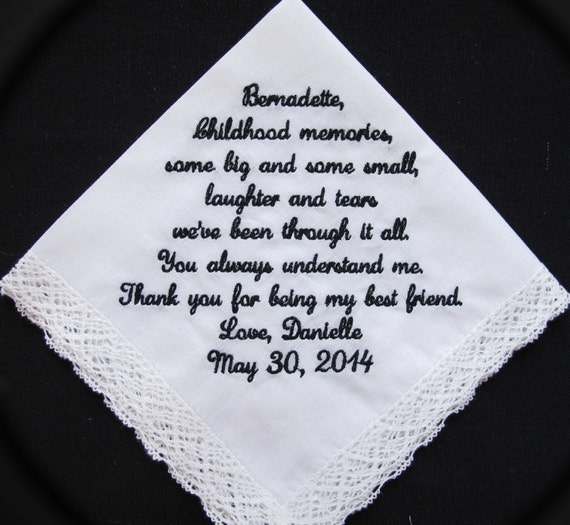 Wedding Handkerchief embroidered for Brother of the Bride or Sister of the Bride.