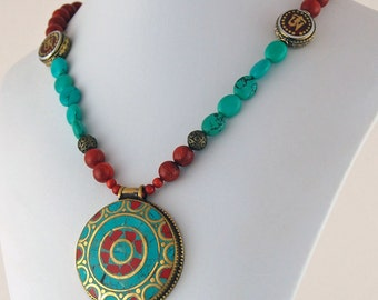 Tibetan Pendant with Turquoise and Coral Necklace