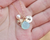 Hand stamped initial necklace,Sand Dollar necklace,Personalized Monogram necklace,custom font,bridesmaid neckace,custom birthstone
