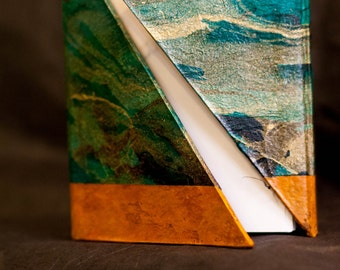 """Summery Marbled Paper Journal with Orange Accents and a """"Hug"""" Cover"""