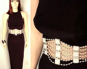 vintage halter maxi dress // sheer midriff