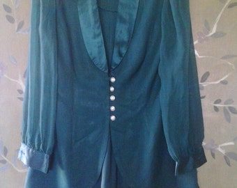 80s emerald green jacket dress with sheer sleeves