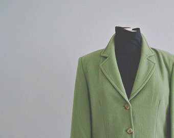 Vintage Pale Green Woman Winter Jacket, OuiSet Wool and Cashmere Tailored Jacket, Classic Elegant Office Fashion, Women's winter coat jacket