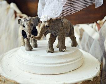 Asian-elephant-wedding-cake topper-zoo-circus-themed-elephant lover-animal-woodland-bride-groom-Mr and Mrs-jungle-safari-birthday-cake
