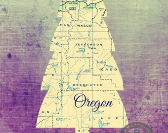 Bend Oregon Vintage Map Evergreen Tree Product Options and Pricing via Dropdown Menu