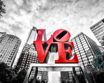 Red Love Park Fine Art Photograph Philadelphia Wall Decor At Checkout, Choose Lustre Print or Gallery Wrapped Canvas