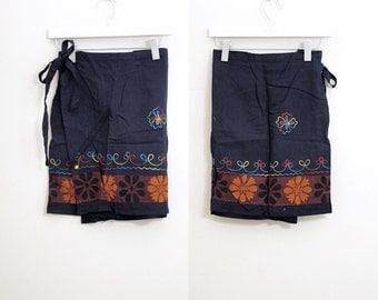 Vintage Tribal Cotton Embroidery Wrap Apron Skirt Free Size
