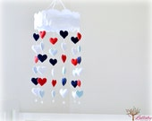 Heart cloud mobile - felt hearts with crystal beads - Pick your own colors - red, navy, light blue, white - nursery decor