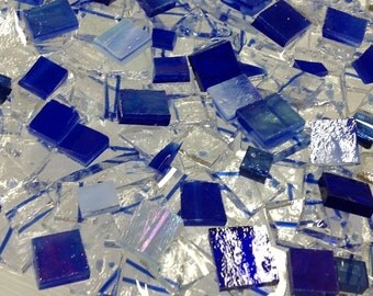 MARDI GRAS BLUE Mix - Stained Glass Blue Mosaic Tile Supply B47
