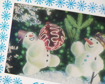 Soviet New Year's postcard, Snowmen playing with glass ball, winter postcard blank Snowmen, Xmas blue white postcard