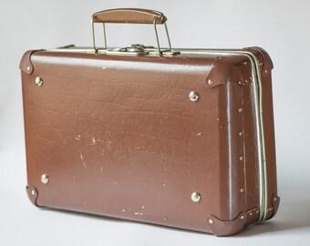 Vintage luggage small, Soviet brown suitcase, 60s luggage tourist, travel case brick red retro, home decor luggage
