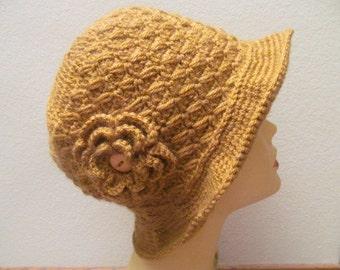 Women Hat With Flower In Honey, Cloche Women Hat With Flower