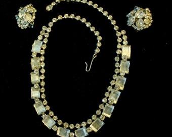 Rhinestone Demi Parure, Emerald Cut, and Clip back earrings