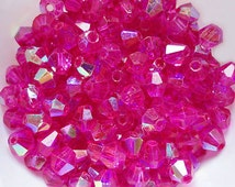 100pcs 4mm Fuschia AB Color Crystal Bicone spacer Beads for jewelry making