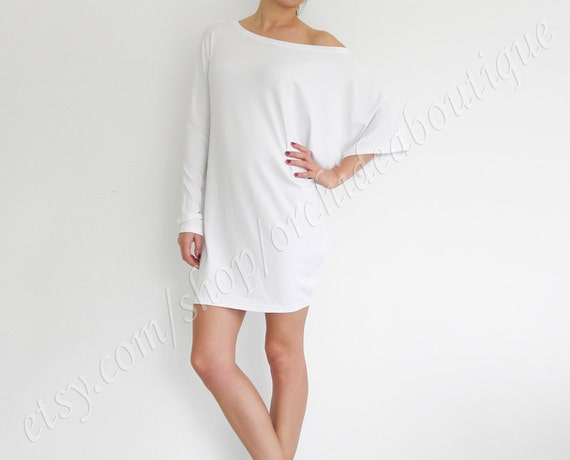 Draped off-shoulder Asymmetric top tunic blouse dress long sleeves plus size