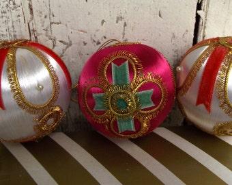 Vintage, Christmas tree ornaments, decorations, satin balls, set of three by Montgomery Ward in original box