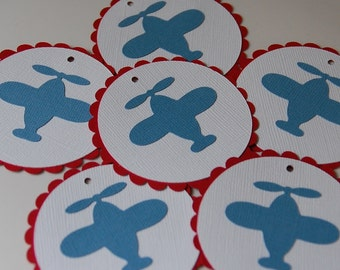 Airplane Favor Tags, Airplane Birthday, Airplane Baby Shower, Airplane Decorations, 12 Pcs Red Blue Airplanes