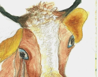 Cow Painting Original Watercolor painting Original Drawing  Art Study watercolor pencil