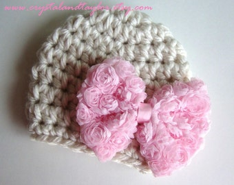 Ready to Ship, Baby Girl Crochet Hat, Baby Hat, Newborn Hat, Crochet Hat, Flower Hat in Oatmeal and Light Pink, Hat with Bow