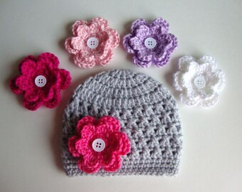 Baby Girl Hat, Baby Hat, Newborn Hat, Crochet Hat, Flower Hat In Light Gray, Photo Prop, Hat with 6 Flowers