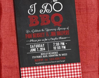 """Printable """"I Do"""" BBQ Barbecue Couples/Coed Wedding Shower Invitation with Gingham"""