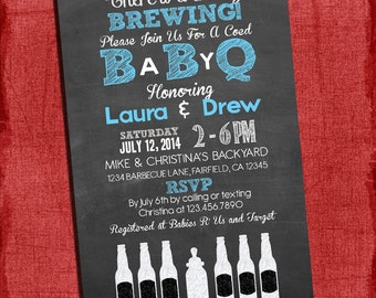 Printable Baby Q Shower Invitation - Barbecue baby shower - Coed Baby Shower Invite-Baby Brewing - I design You Print