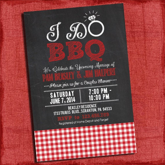Printable I Do BBQ Barbecue Couples Coed Wedding