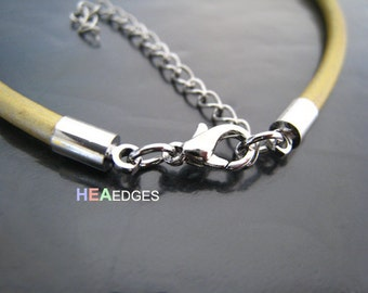 Finding - 4 Sets Silver Round Tone Leather Cord Ends Cap With Lobster Clasp Buckle and Extender ( Inside 3mm Diameter )
