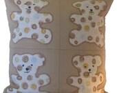 SALE! -- Appliqued Teddy Bear Pillow Cover