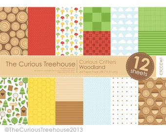 Woodland A4 Paper Pack Digital Download Curious Critters