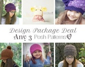 Crochet Patterns - Knitting Patterns - Discount Design Package - Crochet Patterns Baby - Knitting Pattern Hat - Choose ANY 3