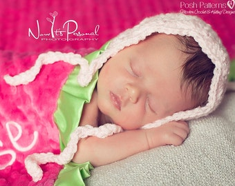 Crochet PATTERN - Bonnet Crochet Pattern - Crochet Patterns - Crochet Hat Pattern - Baby Crochet Patterns - Includes 5 Sizes - PDF 324