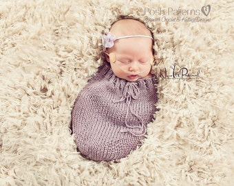 Knitting PATTERN - Knit Cocoon Pattern - Swaddle Knitting Pattern - Easy Knitting Pattern - Newborn Cocoon - PDF 356 - Photo Prop