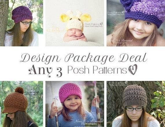 Crochet Patterns - Knitting Patterns - Discount Design Package - Crochet Patterns Baby - Knitting Pattern Hat - Choose ANY 3