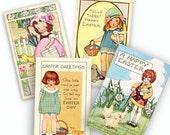 Vintage Images Easter Cards Digital Collage, Instant Download Scrapbooks Cards Tags Graphics Set A