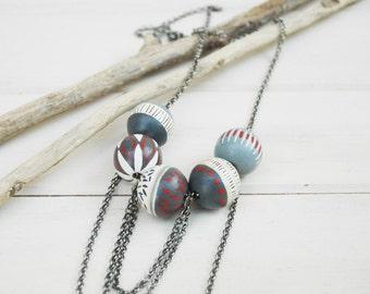 Grey Beaded  Necklace Bohemian Necklace  Boho Necklace Wood Necklace