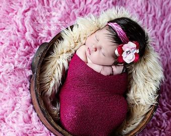 Newborn Stretch wrap - FUCHSIA Stretch Wrap / Scarf / Blanket - Newborn Photo Prop - knitbysarah - stitches by sarah