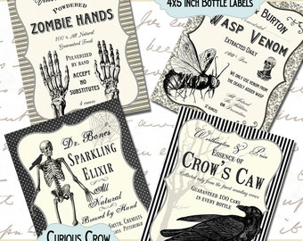 Black and White Creepy Halloween Bottle Labels 4 x 5 Inches Digital Collage Sheet  -  INSTANT Printable Download