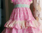 Big Girls Easter Dress Orchid Pink and Aqua