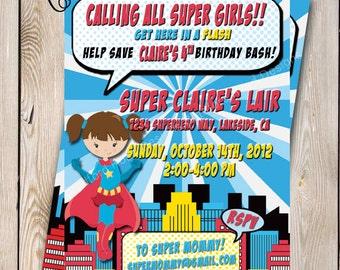 Super Girl Invitation Super Girl Birthday Party Super girl Party Superwoman Invitation Printable 5x7 Super Woman Birthday