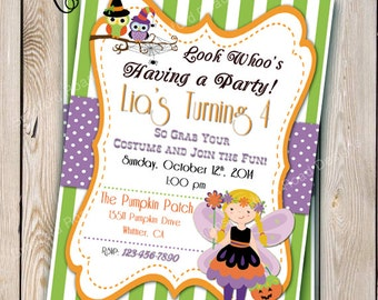 Halloween Birthday Invitation Halloween Fairy Halloween Party Costume Party  Invitation Customizable 5x7 Pumpkin Patch Party Pumpkin party
