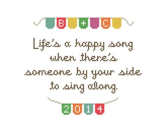 Life's a Happy Song PATTERN | Modern cross stitch | Personalized gift