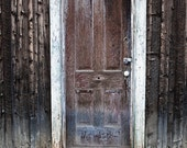 """Abandoned Cabin Door, Colorado Rocky Mountains photograph, matted 16x20 - """"Gone"""""""