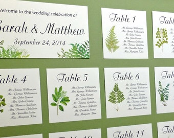 Seating Charts, Table Seating Assignment Cards, Seating Information, Guest Seating Charts Woodland Seating Chart, Woodland Seating Card W109