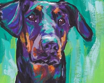 Doberman Pinscher art print dog pop art bright colors 12x12 LEA