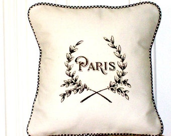 "shabby chic, feed sack, french country, vintage Paris graphic with gingham welting 14"" x 14"" pillow sham."
