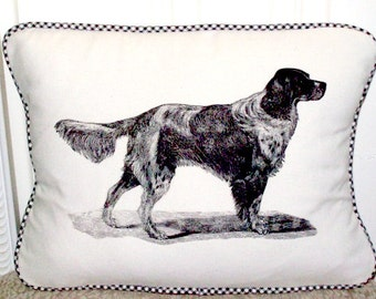 """shabby chic, feed sack, french country, vintage  English Setter graphic with gingham  welting 12"""" x 16"""" pillow sham."""