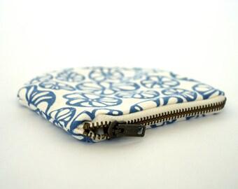 Organic Screen Printed Zipper Pouch - Denim Blue