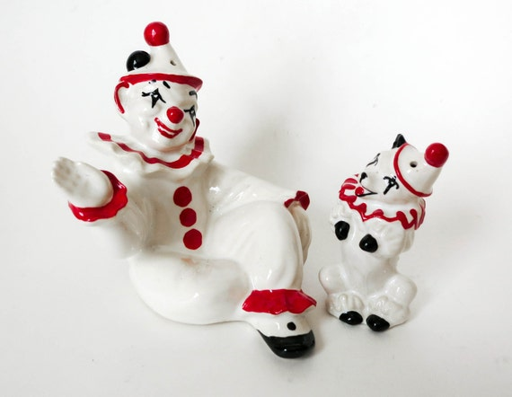 Vintage Clown and Dog Salt and Pepper Shakers by Ceramic Arts Studio - Red & White Circus Performer - Birthday Cake Topper - Home Decor